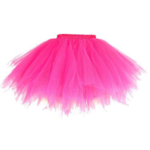 URVIP 80's Party Skirt Lolita Petticoat Vibrant Full Crinoline Layers Tulle Tutu Fushcia L/XL -
