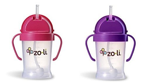 ZoLi BOT 2 Pack Sippy Cup (Pink, Purple)