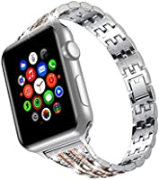 wootfairy Compatible with Apple Watch 38mm 42mm Stainless Steel Wristband Metal Buckle Clasp iWatch 40mm 44mm Strap...