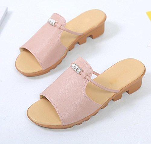 Mit niedrigen Absätzen Sandalen und Pantoffeln schlüpfen weiblichen Retro Diamant dicke Kruste Frau Wort Sandalen ziehen Keil Pink