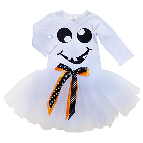 So Sydney Girls Kids Toddler Tulle Tutu Skirt & Top Socks Novelty Costume Outfit (XL (6), Happy Ghost Tutu Set)]()