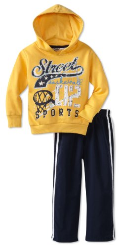 Little Rebels Little Boys' 2 Piece Street Basketball Microfiber Set, Medium Yellow, 2T