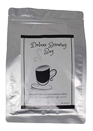 Deluxe Large Filter Bag for Brewing French Press Coffee and Hot or Iced Tea - Pack of 50 - Disposable - Drawstring for Fast Easy Clean Up