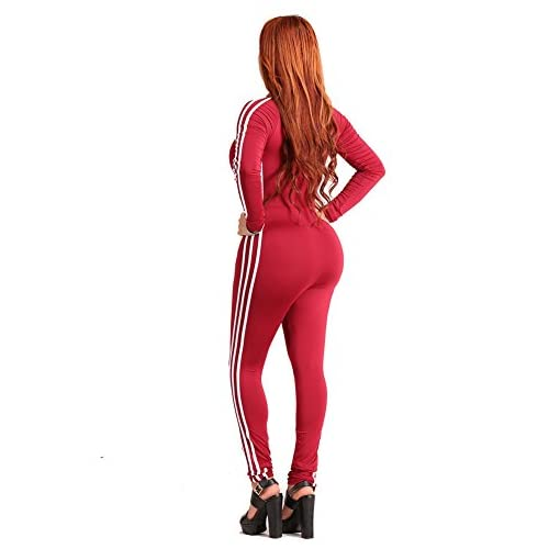 Chicfor Womens One Piece Unitard Full Bodysuit Long Sleeve Striped Skinny Catsuit Zipper Front Lingerie Romper Jumpsuit