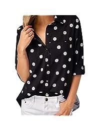 kingfansion - Womens Shirts Casual Botton Shirt Work Office Dot Print Blouse Top