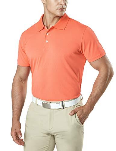 TSLA Men's Dri Flex Tech Polo Premium Active Fit Solid Top Shirt, Basic Pique Polo(mtk10) - Coral, Medium
