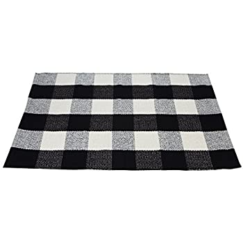 Amazon Com Black White Cotton Rug Checkered Plaid Area