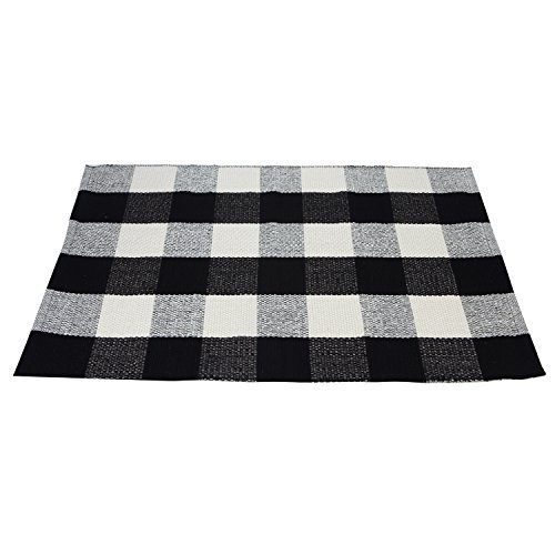 Black White Cotton Rug Checkered Plaid Area Rug Kitchen Mat Entry Way Bath Doormat Bedroom Carpet Washable (23.6''x35.4'')