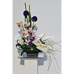 Silk Blooms Ltd Artificial Purple Allium and Pink Cymbidium Orchid Vase Display w/Anthuriums and Calla Lilies 100