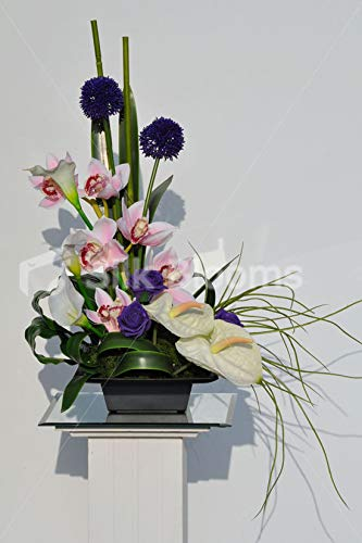 Silk-Blooms-Ltd-Artificial-Purple-Allium-and-Pink-Cymbidium-Orchid-Vase-Display-wAnthuriums-and-Calla-Lilies