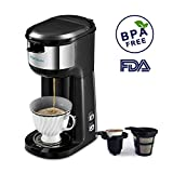 coffee maker one cup keurig - Single Serve Coffee Maker Brewer, HAMSWAN K Cup Coffee Maker Coffee Machine for K Cup Pods & Ground Coffee, Thermal Drip Small Coffee Pot with Self-cleaning Function, Auto Shutoff, Rapid Brewing