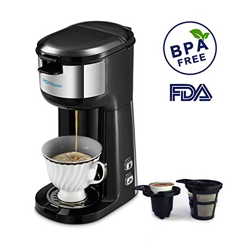 Coffee Maker Single Carafe - Single Serve Coffee Maker Brewer, HAMSWAN K Cup Coffee Maker Coffee Machine for K Cup Pods & Ground Coffee, Thermal Drip Small Coffee Pot with Self-cleaning Function, Auto Shutoff, Rapid Brewing