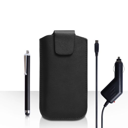Yousave Accessories Huawei Ascend G6 Case Black Lichee Leather Pouch Cover With Stylus Pen And Car Charger