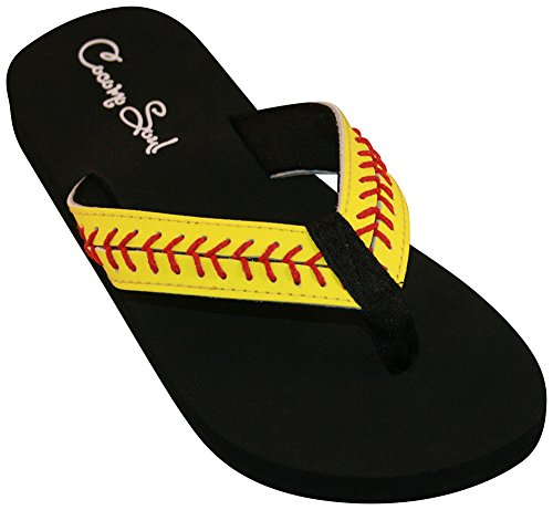 Cocomo Soul Softball Leather Stitch Flip Flops (10) Yellow