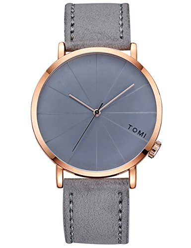Grey Leather Watch - Mens Analog Quartz Watch,POTO Leather Band On Clearance Retro Alloy Dress Wrist Watch Gift Watches with Box RY-362 (Gray)