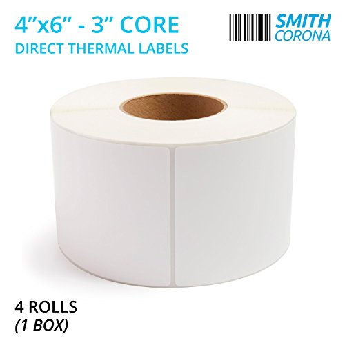 Thermal Transfer Labels Fan - Smith Corona - 4 Rolls - 4'' x 6'' Direct Thermal Labels, 3'' Core, 4000 Labels Total, Made in The USA, for 3