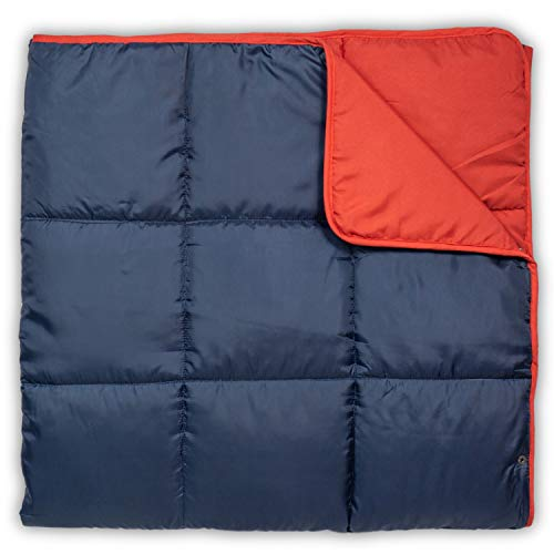 Leisure Co Ultra-Portable Outdoor Camping Blanket - Windproof, Warm, Lightweight and Compact Packable Blanket - Perfect for Camp Trips, Stadium Games, Travel and Picnics (Navy/Red)