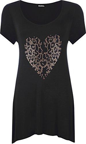 WearAll Women's Plus Size Gold Animal Short Sleeve Top - Black - US 12 (UK 16)