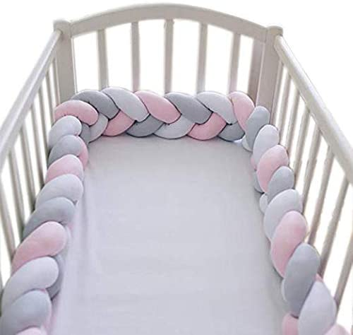 MJL Baby Crib Bumpers Pads Cradle Bedding Bumper for Nursery Bed Pink
