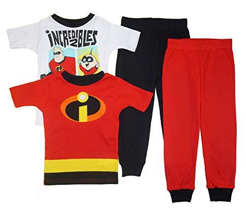 Boys' Incredibles 2 Uniform 4 Piece Cotton Pajama Set Mr. Incredible Jack Dash (4) -