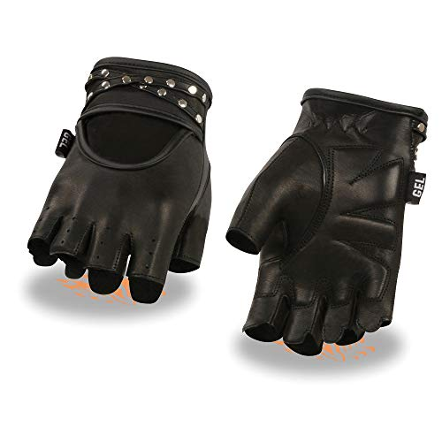 (Ladies Driving Gloves w/Studded Straps & Gel Palm (Full & Half Finger Versions) (Medium, Fingerless))