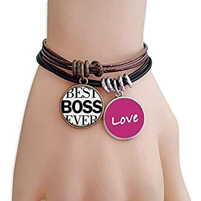 FerryLife Best Boss Ever Quote Love Bracelet Leather Rope Wristband Couple Set Estimated Price £9.99 -