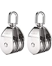 Artilife 2Pcs Stainless Steel Wire Rope Crane Double Pulley Block M50 Lifting Crane Swivel Hook Heavy Duty 400Kg Max Loading
