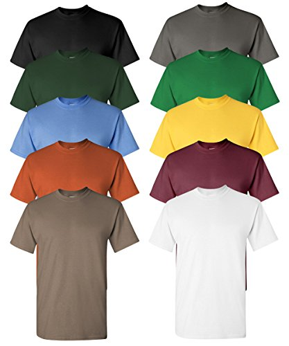 Gildan Men's Classic Heavy Cotton Crewneck T-Shirt, Assorted mix, L (Pack of 10) (Classic Cotton Crewneck T-shirt)
