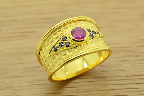Style Ring Etruscan (Oval Shape Ruby Ring & Sapphires Byzantine Style 925 Sterling Silver 22K Gold Plated, Greek Handmade Art Ring, Byzantine Rubies Sapphires CZ Ring, 22K Gold Plated Ring, CZ Band Ring, Sterling Silver Ring, Etruscan Style Ring, Byzantine Ring, Greek Jewelry, Luxury Ring, Medieval Ring, Elegant Sterling Silver Ring, Blue Red cubic zirconia Ring)