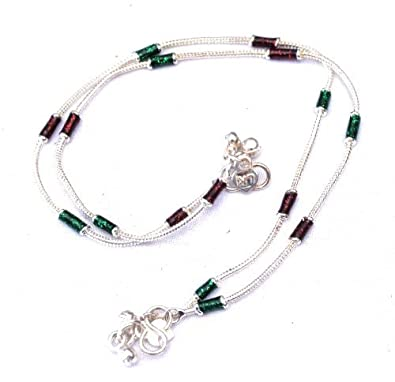 846c397fe0a Buy Pure Sentiments Trendy Indo Western Silver colored Designer Payal  Traditional Indian Anklet Brown   Green Beads  PS126 Online at Low Prices  in India ...