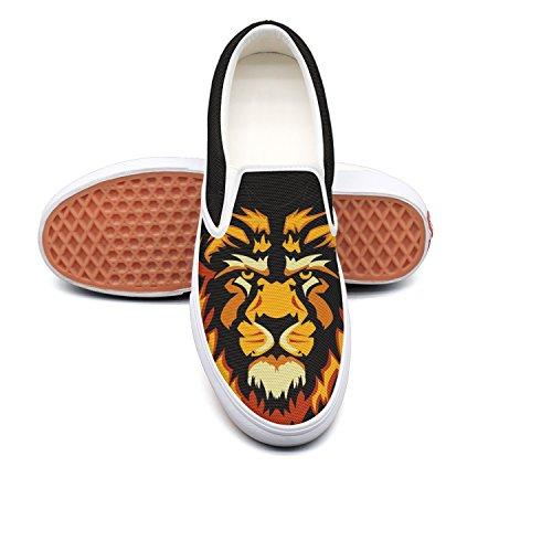 Fangtinge Man Creative Orange Lion Head Canvas Shoes Casual Loafers Shoes Sneaker by Fangtinge