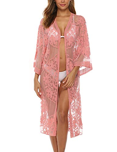 (Womens Pink Lace Kimono Sexy Sheer Long Sleeve Lace Swimsuit Cover Up Kimono Cardigan)