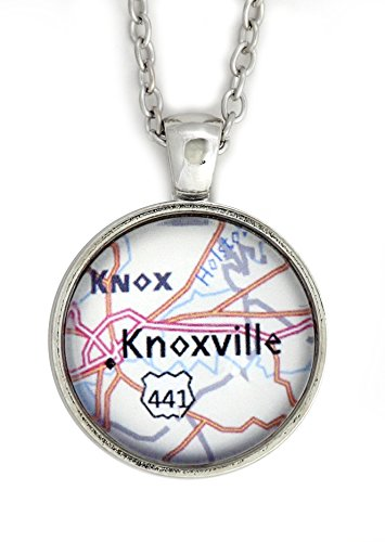 Knoxville Tennessee City Map Necklace Silver Tone NU65 Hometown Pendant Fashion ()