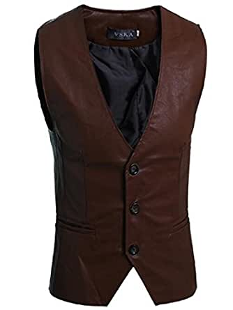Coolred Men's Simple Fitted Suit Faux Leather Business Suit Vest Waistcoat AS1 XL