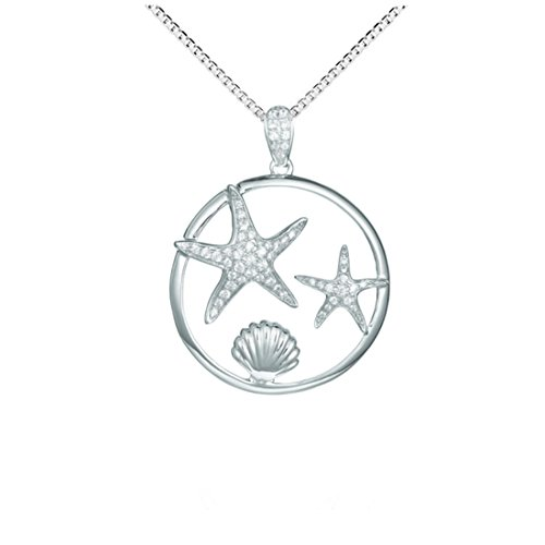 Sterling Silver 925 Pave CZ Starfishes Sunrise Seashell Pendant (Pave Starfish Pendant)