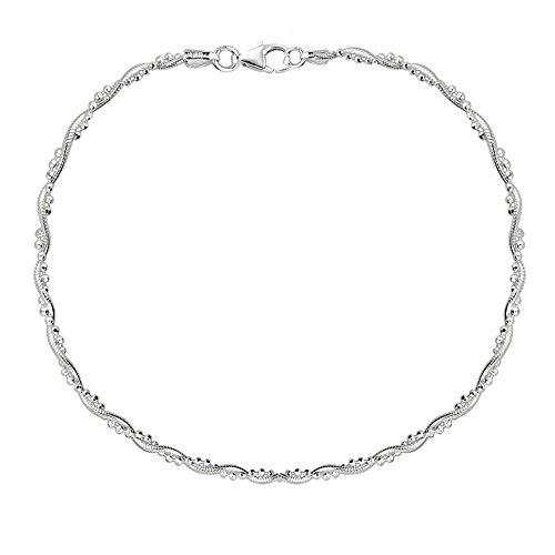 Ritastephens Sterling Silver Braided Snake Chain Bead Anklet