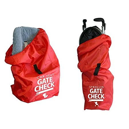 JL Childress Gate Check Bags: Car Seats for Newborn and Above (Red) and Standard and Double Strollers (Red)