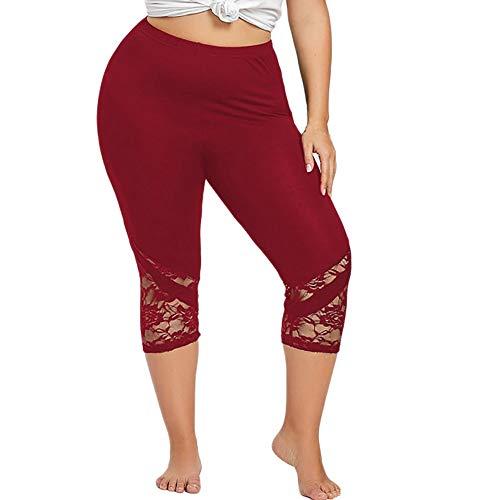 FKSESG Yoga Pants Women Lace Plus Size Skinny Pants Yoga Sport Pants Leggings Trousers Wine