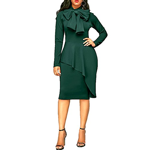 CZ Women Tie Neck Asymmetric Peplum High Waist Bodycon Party Cocktail Midi Dresses(Green,2XL) (Bow Peplum)