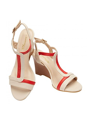 (Wedge Sandals for Women, Size 39, Beige/Red, Stylish Wide Shoe Wedges, 3