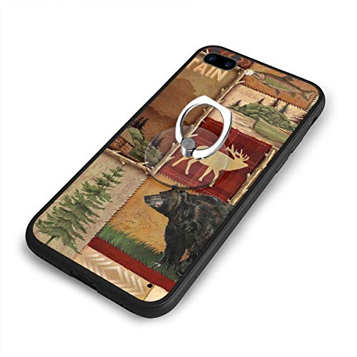 (5.5 Inch iPhone 7/8 Plus Case,Rustic Lodge Bear Moose Deer Anti Scratch Shock-Proof Phone Case Cover with Circular Shape Stand/Ring Bracket)