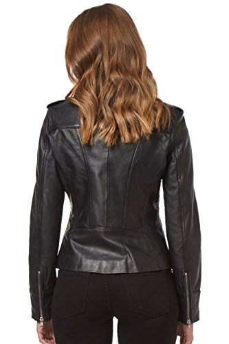 Rider Chaqueta Washed Real Biker De Style Black 9823 Para Motorcycle Fashion Mujer Cuero 11HrxZq