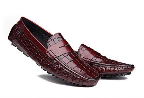 WZG Guisantes zapatos de los hombres zapatos de primera capa de zapatos de cuero de vaca de cocodrilo hombres de cuero zapatos casuales zapatos de conducción de zapatos de la marea Inglaterra wine red