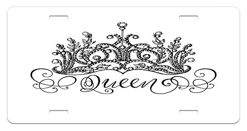 Ambesonne Queen License Plate, Hand Drawn Crown with Queen Lettering Baroque Style Ancient Elements Calligraphy, High Gloss Aluminum Novelty Plate, 5.88 L X 11.88 W Inches, Black and White -