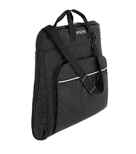 Prottoni 44' Garment Bag with Shoulder Strap - Built in Hook - 4 Zippered Pockets - Carry On Suit Bag