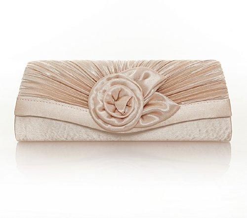 Damara Women's Satin Pleated Flower Front Evening Bag Clutch Handbag (Champagne) -