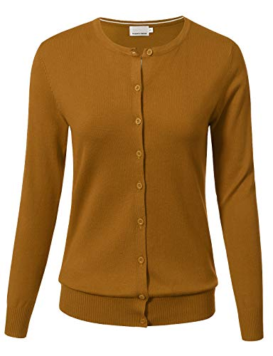 ARC Studio Women Button Down Long Sleeve Crewneck Soft Knit Cardigan Sweater L Mustard