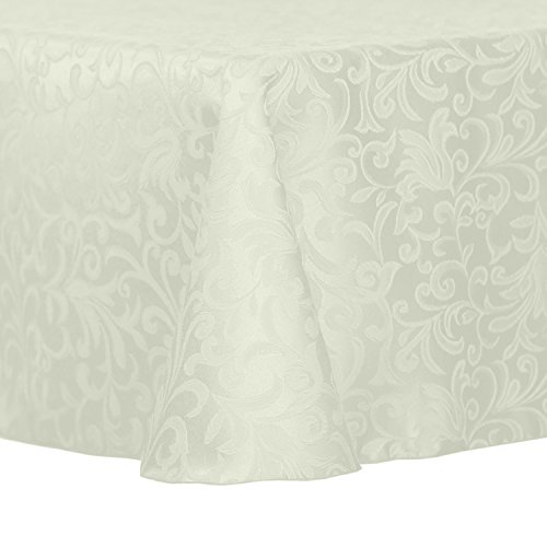 Ultimate Textile Vintage Damask Somerset 70 x 104-Inch Oval Tablecloth Ivory Cream