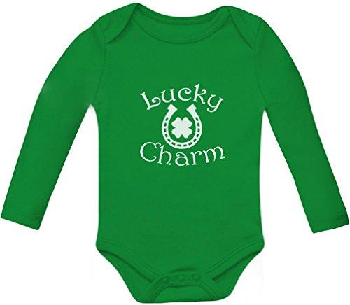 Lucky Charm St. Patrick's Clover Shamrock - Horseshoe Baby Long Sleeve Bodysuit 12M Green (Piece One Replica)