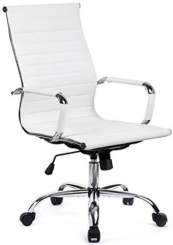 GTP Office Chair Modern Ribbed Swivel Conference Chair Leather Office Chairs High Back Ergonomic Adjustable Chair with Arms (Gtp Body)